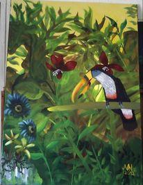 Papagei, Ölmalerei, Tukan, Urwald