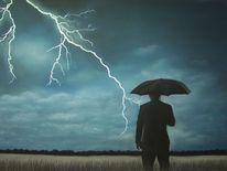 Regenschirm, Einsamkeit, Wolken, Feld