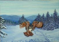 Ölmalerei, Eule, Natur, Malerei