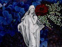 Acrylmalerei, Madonna, Blumen, Illustration