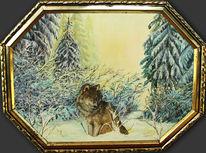 Ölmalerei, Natur, Wolf, Malerei
