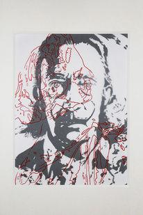 Dalí, Tuschezeichnung, Malerei, Collage