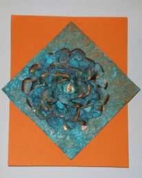Kupfer, Blumen, Collage, Patina