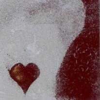 Herz, Pigmente, Marmormehl, Mischtechnik