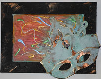 Collage, Kupfer, Patina, Maske