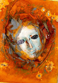 Maske, Collage, Rost, Patina