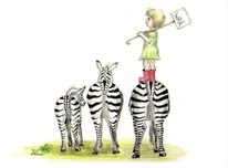 Zebrastreifen, Kinder, Tusche, Illustration