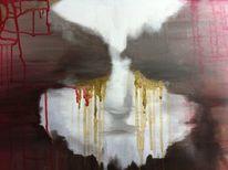 Traurig, Augen, Gold, Portrait
