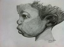 Bleistiftzeichnung, Kopf, Junge, Menschen