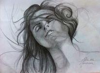 Wind, Haare, Frau, Augen
