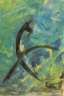 Reiter, Blau, Grün, Acrylmalerei