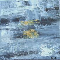 Grau abstrakt, Gold, Acrylmalerei, Reißlack