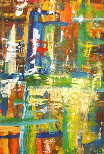 Gouachemalerei, Bunt, Abstrakt, Malerei