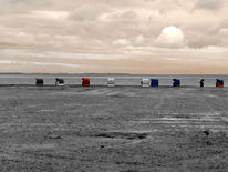 Sand, Spuren, Wolken, Strand