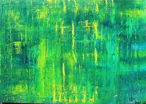 Grüngelbblau, Spachteltechnik, Abstrakt, Sommerregen