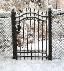 Winter, Schloss, Gartentor, Schwarz weiß