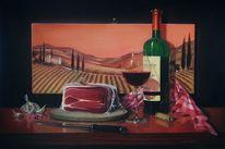 Wein, Schinken, Flasche, Malerei