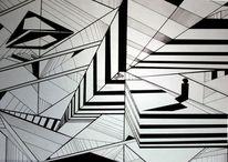 Abstrakt, Schwarz weiß, Zeichnung, Zeichnungen