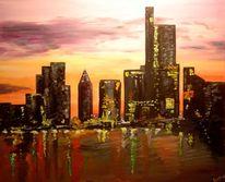 Stadt, Dämmerung, Fluss, Skyline