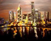 Stadt, Skyline, Licht, Nacht