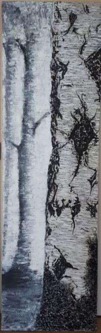 Stamm, Baum, Birken, Malerei