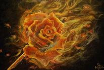 Brennende rose, Malerei, Rose