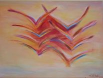 Dämmerung, Vogel, Abstrakt, Malerei
