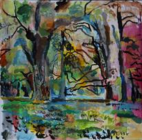 Tree park landscape, Malerei, Park