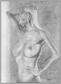 Erotik, Körper, Bleistiftzeichnung, Zwielicht