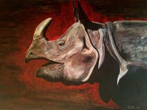 Afrika, Groß, Nashorn, Tiere