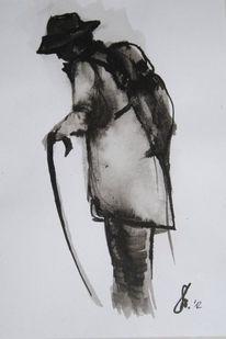 Tuschmalerei, Alter mann, Menschen, Zeichnungen