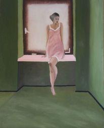 Grün, Licht, Frau, Ölmalerei