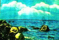 Natur, Pastellmalerei, Meer, Gemälde