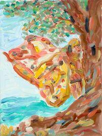 Expressiver realismus, Schmetterlingskind, Ölmalerei, Malerei