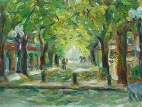 Seitenstrasse, Ölmalerei, Expressionismus, Frühling