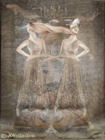 Frau, Zwillinge, Verbindung, Fantasie