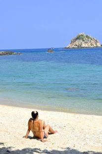 Frau in bikini, Ferien, Thailand, Strand