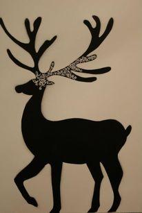 Hirsch, Schablonenarbeit, Acrylmalerei, Malerei