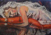 Trauer, Verzweiflung, Malerei, Holzdruck