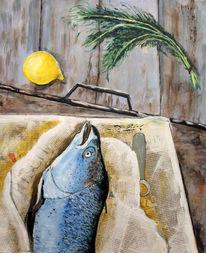 Zitrone, Zeitungspapier, Lachs, Dill