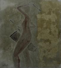 Gelb, Schabetechnik, Relief, Gipsbilder
