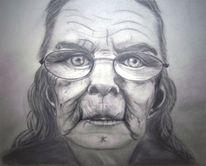 Frau, Alt, Brille bleistift, Zeichnungen