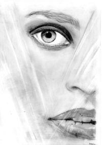 Frau, Portrait, Zeichnung, Plastikvorhang