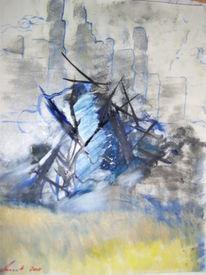 Tsunami, Stadt, Landschaft, Malerei