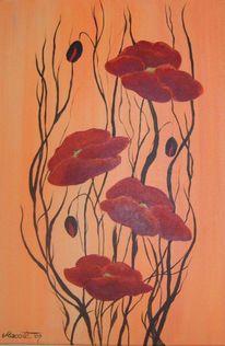 Mohn, Blumen, Malerei, Pflanzen
