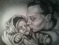 Kind, Portrait, Schwarz weiß, Mutter