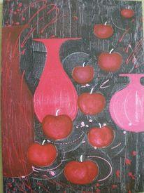 Apfel, Rot, Vase, Rot schwarz