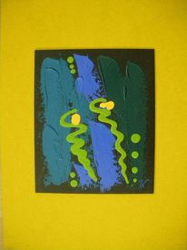 Ocker, Acrylmalerei, Grün, Platte