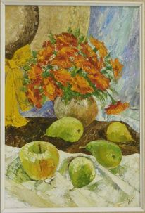 Ölmalerei, Apfel, Birne, Karton