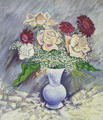 Vase, Blumen, Temperamalerei, Gedeckte farben